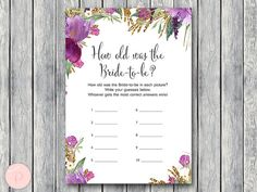 Purple How old was the Bride to be Bridal Shower by BrideandBows