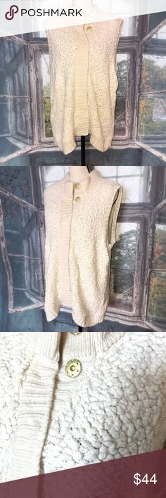 Ivory Faux Lamb Sweater Vest by Marc New York Ivory Faux Lamb Sweater Vest by Andrew Marc New York size XL Snap Close Front. Excellent preloved condition Andrew Marc Sweaters Cardigans