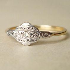 Antique Ring, Edwardian Diamond  18k Gold Wedding Ring, Vintage Engagement ring, Approximate Size US 8.25. $398.00, via Etsy.
