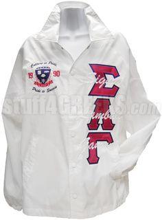 Sigma Lambda Gamma Greek Letter Line Jacket with Embellished Crest, White Sigma Lambda Gamma, Kappa, Rose Colored Glasses, Slg, Line Jackets, Sorority, Greek, Letter, American