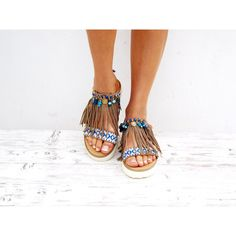 Boho Fringe Sandals, Handmade Sandals, Greek Sandals, Earth Colors... (€140) via Polyvore featuring shoes, sandals, fringe shoes, bohemian style shoes, boho chic shoes, fringe gladiator sandals and hippy shoes