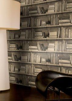 Sepia Bookshelf Wallpaper - Lime Lace £69.95 #bookshelfeffect #designerwallpaper #mineheart