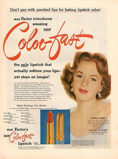 """1952 Color Fast Lipstick Original Health and Beauty Print Ad -An original vintage 1952 advertisement, not a reproduction -Measures approximately 10"""" x 13"""" to 11"""" x 14"""" -Ready for matting and framing."""