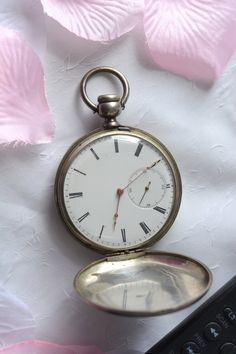 Antique Pocket Watch, Silver M.J. Tobias Engraved Pocket Clock, Vintage Pocket Watch from Liverpool with detached lever and 13 Jewels...  offered by WexfordVintage on Etsy