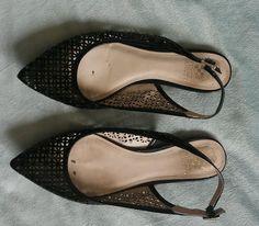 Vince Camuto Lazer Cut Black Patent Leather pointed toe flats sz 9.5 #VinceCamuto #BalletFlats