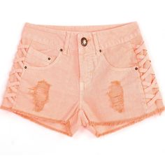 Orange Ripped Fringe Lacy Denim Shorts ($22) ❤ liked on Polyvore featuring shorts, bottoms, chosth, pants, distressed shorts, torn shorts, destroyed jean shorts, ripped shorts and ripped denim shorts