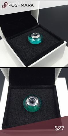 """Pandora Charm NWOT Pandora """"Fascinating Teal"""" charm. Sterling silver and murano glass. Properly hallmarked S925 ALE. Pandora box not available. No trades. Thanks and happy Poshing!! Pandora Jewelry Bracelets"""