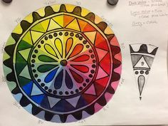 Color Wheel Mandala - by Sandy Blanc. I made this for a sample project for a high school Painting I class. This uses tints and shades of the colors on the color wheel.