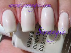 Bone Daddy. Sheer antique white shimmer. This one is fairly unique among the whites in my collection. It's not a stark, bright white by any means. It's a slightly yellowed, antique-looking off-white with a hint of shimmer. The name is quite appropriate, it reminds me of bone. This one is also pretty sheer, but I think it's meant to be worn that way. I'm not fond of sheers so I did four coats of this to make it opaque. There's still a little visible nail line. This would probably make a very…