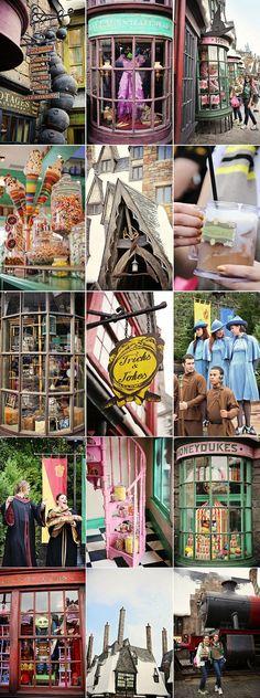 Scenes from Hogsmeade Village at Universal Islands of Adventure, Orlando, Florida