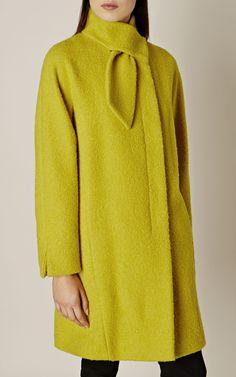 Buy Karen Millen Tie Neck Coat, Lime from our Women's Coats & Jackets range at John Lewis & Partners. Fashion Now, Hijab Fashion, Plus Size Fashion, Fashion Dresses, Karen Millen, Coats For Women, Jackets For Women, Clothes For Women, Tailored Coat