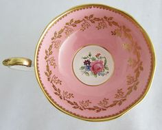 Aynsley Bone China Footed Cup Saucer Pink Rose Gold Gilt c1934 50s Exquisite | eBay