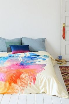 abstract watercolor bed sheets