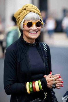 Inspiration:Blunt bangs, bright colors, and an overload of accessories! No matter the age you can ALWAYS have fun with fashion:)