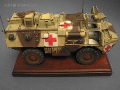 """KFOR VAB (""""véhicule amphibie blindé"""") ambulance in 1/35 scale; Heller kit with Blast and Azimut conversion sets."""