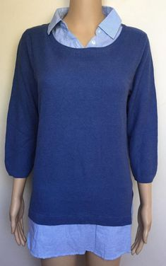 Women`s New Isle Knit Jumper w// Mock Shirt Collar Size UK 18-20 Office Work