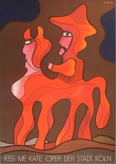 Jan Lenica, poster illustration for Kiss me Kate, Oper der Stadt Köln, 1977