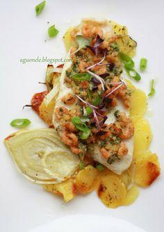 aguonėlė: Plekšnė (o gal otas?) bulvių & pankolio patale, užklota krabukais