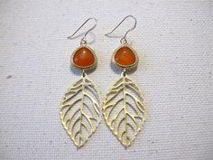 Orange Jade & Leaf Earrings by MariahBennett on Etsy, $35.00