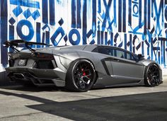 Lamborghini Aventador Coupe wrapped in Satin Gray w/ a Liberty Walk Bodykit and rear wing and Forgiato Wheels painted in Black  Photo taken by: @rdbla on Instagram