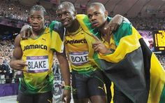 The Jamaican sweep of the men's 200m led by Usain Bolt! #London2012 #olympics     .