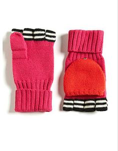 KATE SPADE NEW YORK Contrasting Pop-Top Wool Mittens
