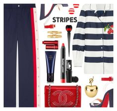 """""""Strong Stripes: Graphic Striped Pants"""" by annbaker ❤ liked on Polyvore featuring Dolce&Gabbana, Gucci, Christian Louboutin, Chanel, Oribe, Fresh, Kate Spade and stripedpants"""