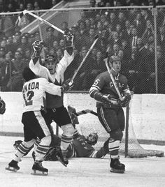 Yvon Cournoyer of Team Canada hugs Paul Henderson after scoring the winning goal in the Canada-USSR hockey series on Sept. Montreal Canadiens, Canada Cup, Hockey Sweater, Order Of Canada, Hockey Pictures, Hockey Boards, Summit Series, Toronto Star, Canadian History