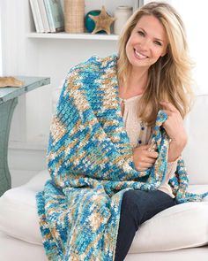 Free Crochet Pattern Just Beachy Throw From RedHeart.com