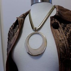 New CHICO'S Gold Tone Circle Pendant Necklace NWT 'Arjean' Statement Snake Chain