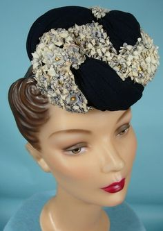 """c. 1944 Lord & Taylor Dark Navy Jersey Twisted Tilt """"Doll"""" or """"Toy"""" Hat Covered with Tiny Hydrangea Silk Flowers!"""