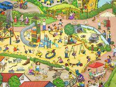 Diesen einzigartigen Jersey muss man einfach haben. Darauf ist der Zoo in Nordhorn mit allen seinen Möglichkeiten verewigt. Da kann man an jeder Ecke etwas entdecken. Aus dem Wimmelbild Jersey... French Pictures, Hidden Pictures, Writing Prompts For Kids, Picture Writing Prompts, Speech Therapy Games, Picture Composition, Puzzle Art, Fun Illustration, Fathers Day Cards