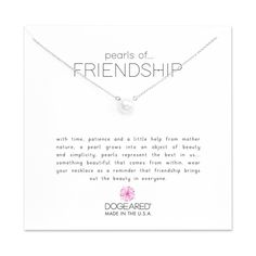 Dogeared Pearls of Friendship White Pearl Necklace, Sterling Silver