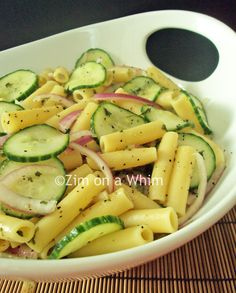 Cool Cucumber Pasta - I find it tastier to chop my onions and cucumber up!! Can't get enough of this....yum!