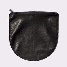 Large Leather Pouch: Black (Black Zipper)