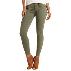 Plus size dark green skinny jeans