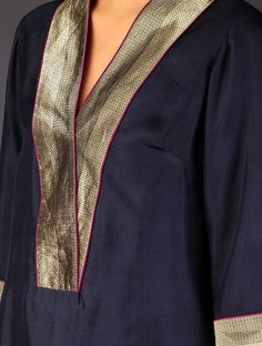 Navy - Golden Brocade Detailed Silk V-Neck Kurta - Buy Apparel > Tunics &… Salwar Pattern, Kurta Patterns, Dress Patterns, Neck Designs For Suits, Dress Neck Designs, Blouse Designs, Kurta Designs Women, Salwar Designs, Kurta Neck Design