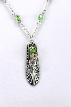 Antique Silverware Spoon Handle Pendant Necklace with Green
