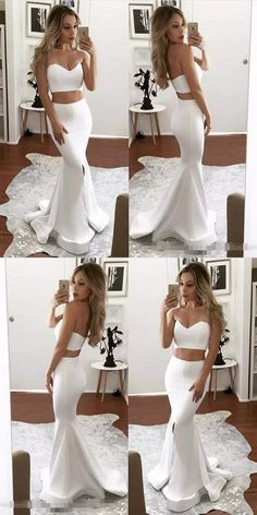 2017 two piece prom dresses,sexy mermaid prom dresses,long white prom dresses,prom dresses for women