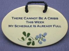 6 in x 4 in There cannot be a crisis this week, my schedule is already full. $15.99