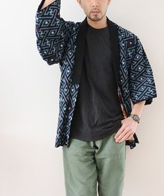 福島市の古着屋 Clothing and more FUNS BLOG: 野良着 半纏 藍染 絣 ジャパンヴィンテージ 50年代 クレイジー ハート   FUNS Mens Kimono Jacket, Male Kimono, Japan Fashion, Mens Fashion, Fashion Outfits, Men's Yukata, Orientation Outfit, Men's Robes, And More