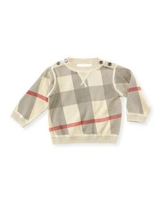 Check Crewneck Sweater, Taupe, Months by Burberry at Neiman Marcus. Baby Burberry, Designer Brands List, Newborn Outfits, Pullover, Crewneck Sweater, 18 Months, Baby Design, Neiman Marcus, Taupe