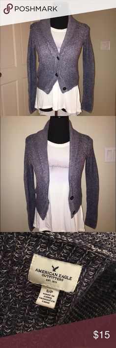 AE cardigan Lovely knit blue and white cardigan. Great condition, only warn a couple times. No flaws. No trades. American Eagle Outfitters Sweaters Cardigans