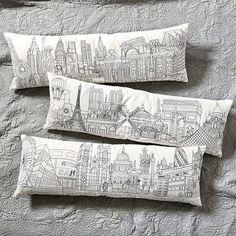 Embroidered City Skyline Pillow traditional pillows; Ballard Design