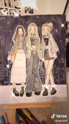 @raturomii on tiktok Indie Drawings, Cool Drawings, Art Journal Inspiration, Art Inspo, Pretty Art, Cute Art, Children Sketch, Grunge Art, Indie Art