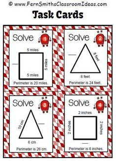 """#FreebieFriday ~ #FREE Perimeter Penny Four Sample Task Cards """"Find the Missing Side"""" #TpT"""