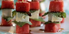 Watermelon and Feta Skewers Recipe : Damaris Phillips : Food Network Game Night Snacks, Snacks Für Party, Skewer Recipes, Appetizer Recipes, Potluck Recipes, Cooking Recipes, Potluck Dishes, Dinner Recipes, Tapas