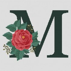 Floral letter M modern cross stitch pattern Monogram Monogram Cross Stitch, Cross Stitch Bookmarks, Cross Stitch Rose, Cross Stitch Baby, Cross Stitch Alphabet, Cross Stitch Charts, Counted Cross Stitch Patterns, Needlepoint Patterns, Embroidery Patterns Free