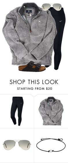 """When girls think they're preppy but no "" by madelynhp ❤ liked on Polyvore featuring NIKE, Ray-Ban and Birkenstock"