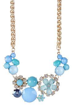 Blue Flower Bib Statement Necklace